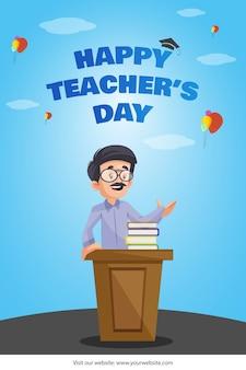 Professor está fazendo um discurso no banner do dia do professor