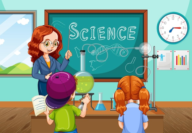 Professor explicando experimento científico para alunos na sala de aula