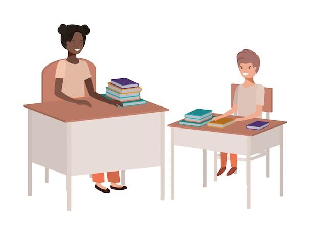Professor fêmea preto na sala de aula com o aluno