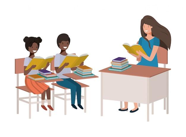 Professor feminino, leitura, em, sala aula, com, estudantes