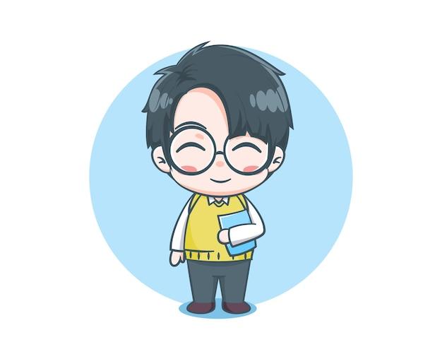 Professor fofo personagem de desenho animado