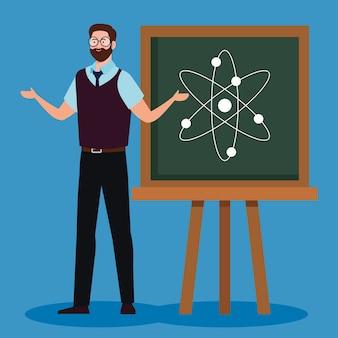 Professor homem com quadro-negro na sala de aula
