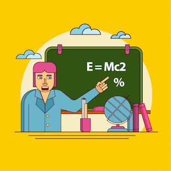 Professor indicando no quadro negro, de volta à escola