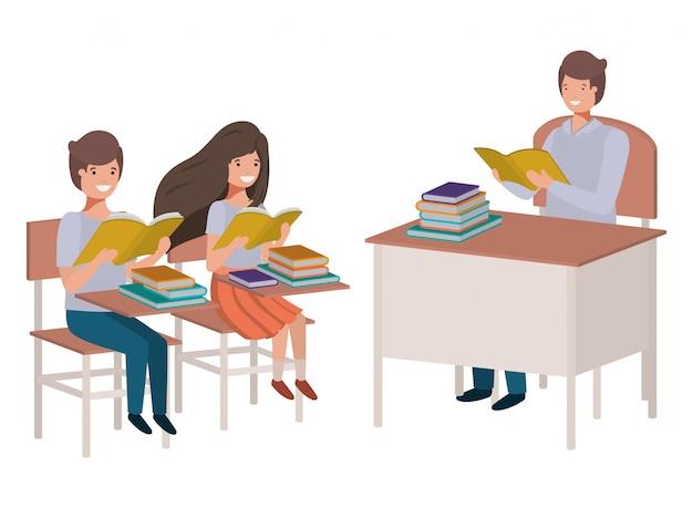 Professor, leitura, em, sala aula, com, estudantes