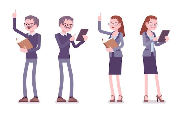Professor masculino e feminino em pé