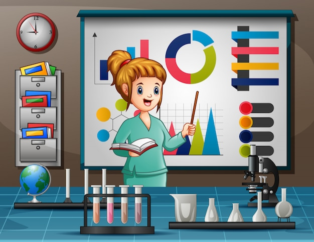 Professor, mostrando, diagrama apontando, em, tábua, em, um, laboratório