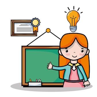 Professor mulher com placa para ensinar a ilustração vetorial dos alunos