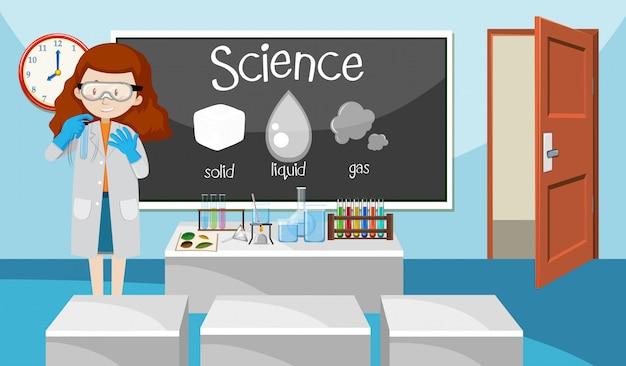 Professor na aula de ciências