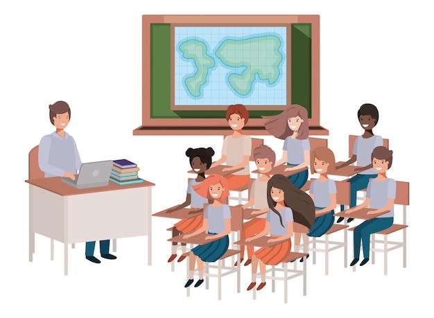 Professor na aula de geografia com alunos