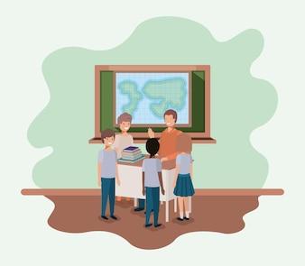 Professor na aula de geografia com os alunos