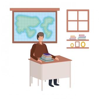 Professor na aula de geografia
