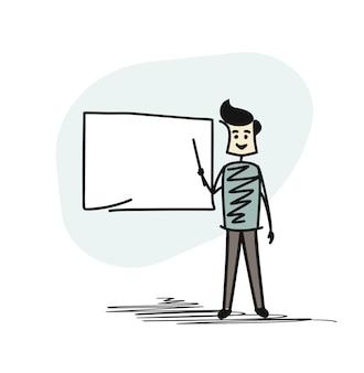Professor na frente de um quadro negro, cartoon hand drawn sketch vector background.