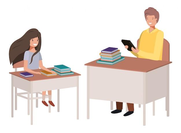 Professor na sala de aula com o aluno