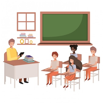 Professor na sala de aula com os alunos