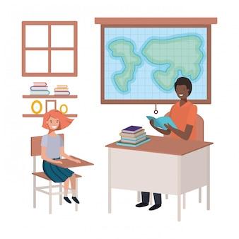 Professor negro na aula de geografia com alunos