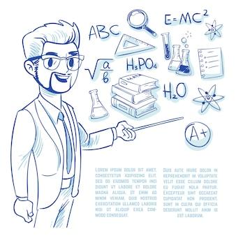 Professor no quadro-negro e ícones de doodle de educação