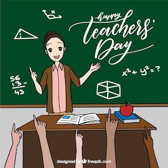 Professor no quadro-negro e pupilas levantando as mãos