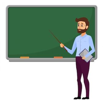 Professor novo que está na frente do quadro-negro em branco da escola.