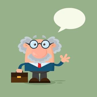 Professor ou cientista cartoon personagem acenando com bolha do discurso.