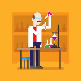 Professor ou cientista em uma série de personagem de desenho animado de laboratório