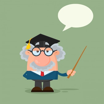 Professor ou cientista personagem de desenho animado com chapéu de pós-graduação segurando um ponteiro