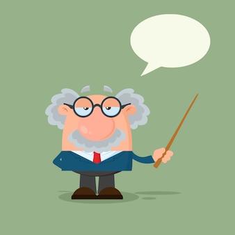 Professor ou cientista personagem de desenho animado, segurando um ponteiro com bolha do discurso.
