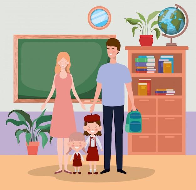 Professor, par, com, pequeno, estudantes, crianças, em, a, corredor escola