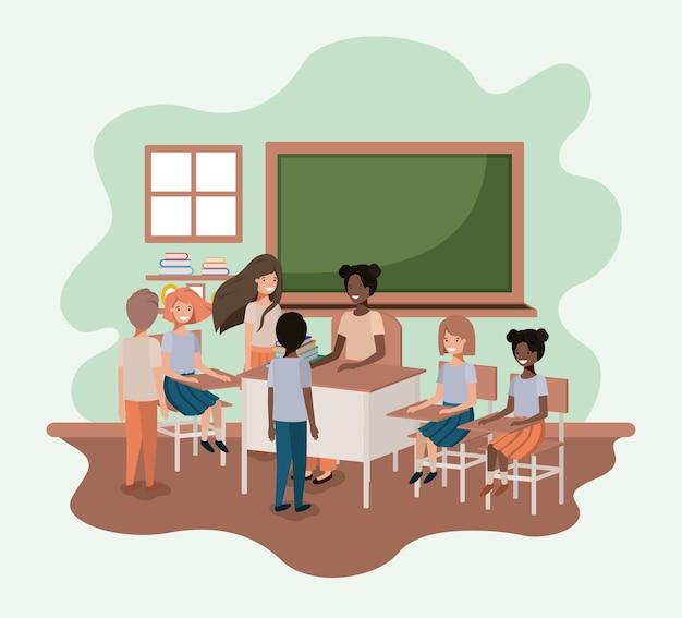 Professor preto na sala de aula com design de ilustração de vetores de estudantes