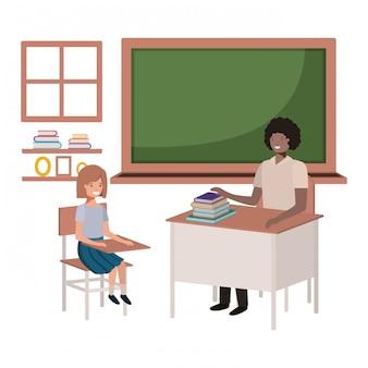 Professor preto na sala de aula com os alunos