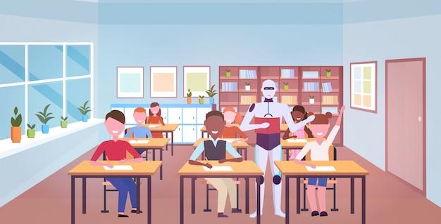 Professor robô com os alunos na lição inteligência artificial tecnologia educação conceito escola primária sala de aula interior horizontal comprimento total