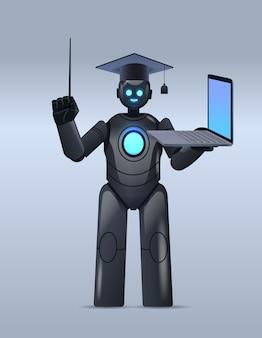 Professor robô preto com chapéu de formatura segurando laptop educação on-line inteligência artificial