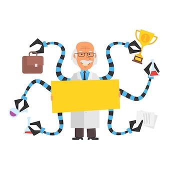 Professor segurando um cartaz em branco e sorrindo atrás das costas do professor estão tentáculos robóticos