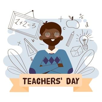 Professor sorridente na ilustração do dia do professor