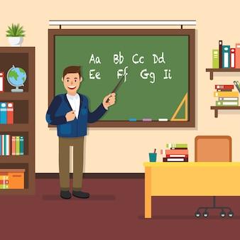 Professor stand no quadro-negro em sala de aula.