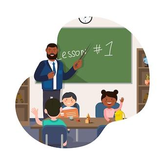 Professor stand no quadro-negro. mostrar ponteiro a bordo na sala de aula.