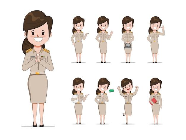 Professor tailandês em pose de conjunto uniforme. jovem governo com caráter de trabalho.