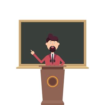Professor universitário em pé na tribuna do pódio na frente do quadro-negro