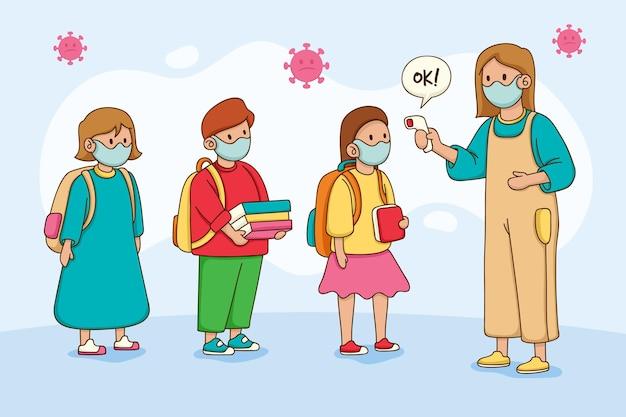 Professor verificando a temperatura das crianças