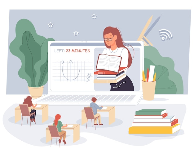 Professora, alunos estudando em sala de aula virtual.