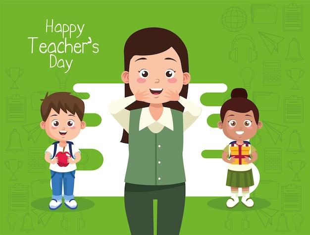 Professora com crianças levantando presentes e maçã