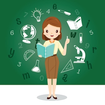 Professora com ícones de materiais educacionais