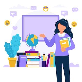 Professora com livros e lousa.