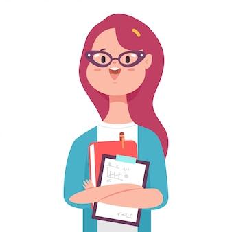 Professora com personagem de menina bonito dos desenhos animados livro isolada em um fundo branco.