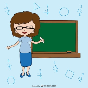 Professora com quadro-negro
