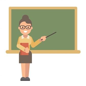 Professora com um livro e um ponteiro perto de um quadro-negro