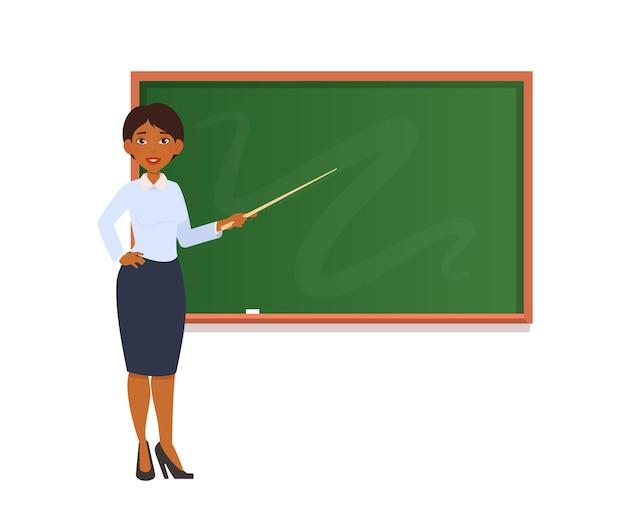 Professora com um ponteiro no quadro-negro