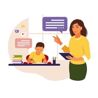 Professora dá aulas para o menino em casa ou na escola. ilustração conceitual para escola, educação e educação escolar em casa.