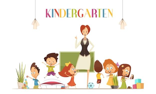 Professora de jardim de infância em ambiente de sala de aula positivo coordena as atividades das crianças para
