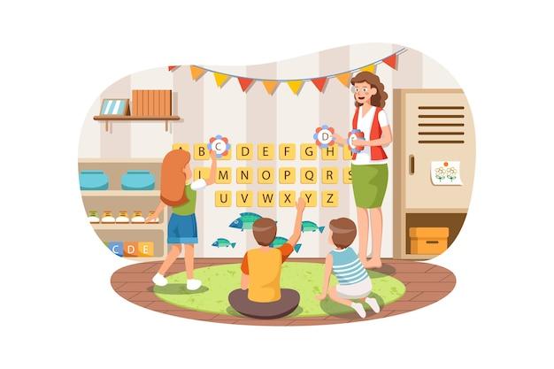 Professora de jardim de infância ensinando as crianças abc alfabeto em aula.