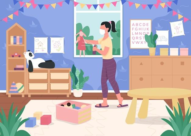 Professora de jardim de infância higieniza brinquedos ilustração em cores planas